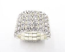 New Sparkling 5 Row Silver Austrian Crystal Rhinestone Stretch Ring #R1238