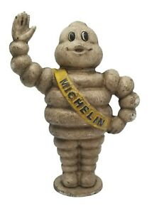 """Michelin Man Bank 8"""" Heavy Cast Iron With Painted Antique Finish"""