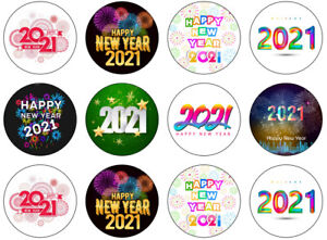 Happy NEW YEAR 2021 Edible Icing Cupcake topper  12 x 2 inches SET 22
