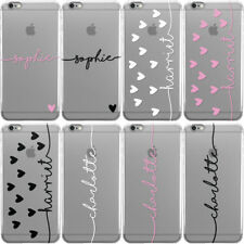 DYEFOR PERSONALISED NAME & HEARTS CUSTOM CLEAR PHONE CASE COVER FOR APPLE IPHONE