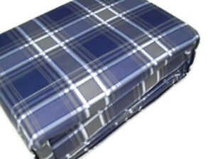 Signature Collection Brushed Microfiber Blue Gray Plaid Print King Sheet Set New
