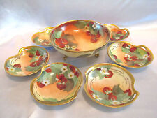 T&V Limoges Tressemann & Vogt Dessert or Ice Cream Set 7 Hand Painted Flowers