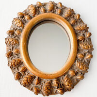 Vintage George Nathan Oval Wall Hanging Ornate Mirror Gold Gilded Resin Floral