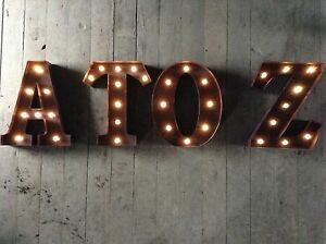 LARGE METAL LED LIGHT WEDDING CELEBRATION PARTY TABLE WALL DISPLAY A-Z LETTERS