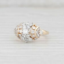 0.90ctw Diamond Cluster Ring 14k Yellow Gold Size 6.5 Engagement