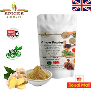 100% Pure Organic Ground Ginger Powder Top Quality 50G-1KG Free UK Mainland P&P