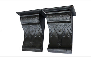 X-Large Statement Black French Capitals Corbels Shelves - a Pair