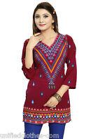 Women Fashion Casual Indian Short Kurti Tunic Kurt Top Shirt Dress RR564 Majenta
