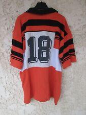 Maillot rugby vintage porté n°18 ancien années 80 90 Ets DUBOE orange shirt XL