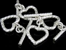 Kr-048 Ksb Thai Karen Hill Handmade Tribe Silver 3 Twist Heart Shape Toggle