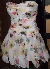 4 Charlotte Russe Sweetheart Top Ruched Flounced Hem Cocktail/Bridal/Prom Floral