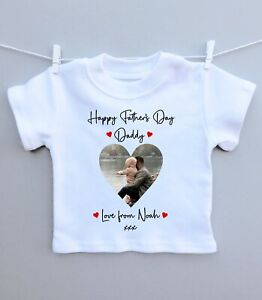 Personalised baby/childs T-shirt top! Happy fathers day daddy photo heart
