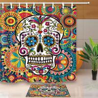 "Boho Suger Skull Floral Waterproof Bathroom Fabric Shower Curtain & 12 Hooks 71"""