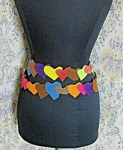 Long multi coloured leather suede tie belt Heart patches