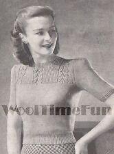 Vintage Knitting Pattern Lady's 1940s Jumper, Leaf Design Yoke. Short Sleeves.