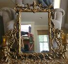 Set of 3 Vtg Ornate GOLD FRAMED HOMCO WALL MIRROR & 2 Candle Sconces