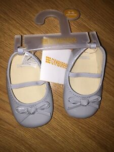 NWT Gymboree Girls Mary Jane Shoes Gray Size 3-6 Months