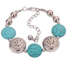 Adjustable Charm Tibetan Silver Oblate Beaded Turquoise Chain Bracelet for Women