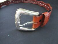 NOCONA LEATHER used men's leather WEB Belt and Large SIZE 42
