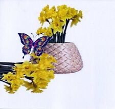 9 BUTTERFLY WITH DAFFODILS GIFT NOTELETS WITH NO ENVELOPES FREE P&P