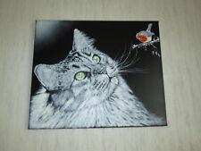 """Peinture/Acrylique """" Le Chat aux yeux verts """",sur toile,NEUF!"""