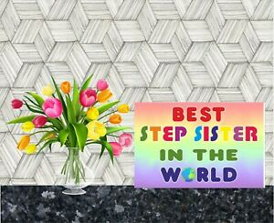 Card For Step Sister - Best In The World - Novelty Greetings Card - Thank You