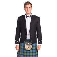New Formal Mens Black Scottish Barathea Wool Argyle Kilt Jacket
