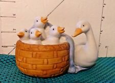 Easter, Duck With Baby Ducks In Brown Basket With Blue Blanket, by MIC