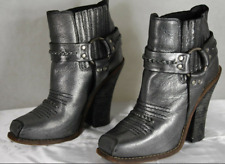 BARBARA BUI  SKYHIGH HEEL RIDING BIKER COWBOY METALLIC GRAY BOOTS EU 39 US 9