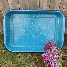 Vintage 1950s Enamelware Graniteware Baking Roasting Pan Turquoise Blue Camping