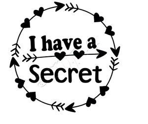 Iron on Transfer PREGNANT ANNOUNCEMENT MATERNITY I HAVE A SECRET BOHO ARROW