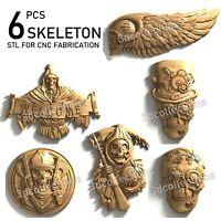 3d stl model cnc router artcam aspire 6pcs skeleton skull collection