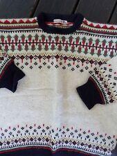 NORWEGIAN NORWAY ivory blue red wool ski crewneck sweater LARGE