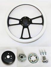"Bronco F100 F250 F350 Ford Truck Steering Wheel White Grip on Black Spokes 14"""