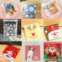100pcs Self Adhesive Christmas Cellophane Party Treat Cooky Candy Gift Bags