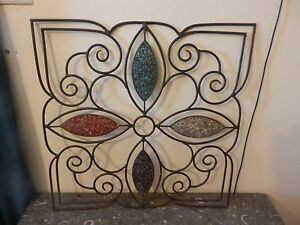 Metal Scroll Wall Art Brown Antique Finish with Red Green Clear Purple Crystals