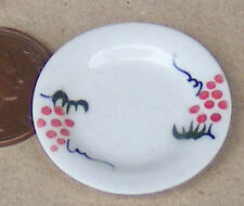 1:12 Single Red Floral Ceramic Plate Doll House Miniature Kitchen Accessory CRR4