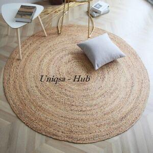 Rug 100% Natural Jute Braided Style Area Rug Reversible Rustic Look Carpet Rugs