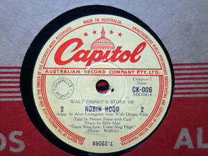 WALT DISNEY - Story Of Robin Hood (Parts 2 & 4) 78 rpm disc (A+)