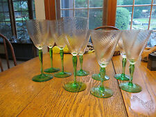 Vintage Theresienthal? Green Stem Spiral Swirl  4 Water 4 Wine Goblets Glasses