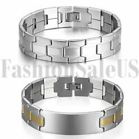 Men's Wide Gold Silver Tone Stainless Steel Bracelet Wrist Link Chain Bangle