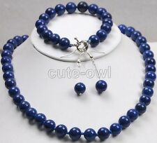 Genuine 10mm lapis lazuli Gemstones Round Beads necklace bracelet earrings set