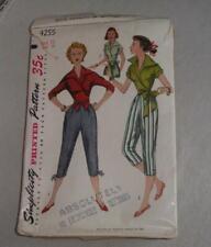 Vintage Women Sewing Pattern Blouse Pants 1953 Simplicity 4255