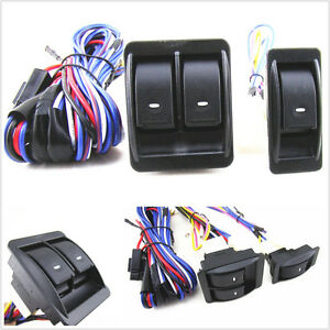 One Set Car SUV Power Door Window Glass Lift Switch + Harness Kit With Green LED