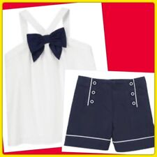 NWT Girl 6 Gymboree PARISIAN AFTERNOON 2pc Navy SHORTS & WHITE SHIRT TOP BOW SET