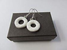 Handmade - Unusual Kitsch Novelty Fun Fimo White Round Hole Polo Mint Earrings