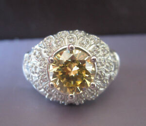VICTORIA WIECK CANARY YELLOW CITRINE CUBIC ZIRCONIA STERLING SILVER RING 7 Meda