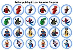 24 Large Icing Lego Superhero Cupcake Toppers precut edible image decorations