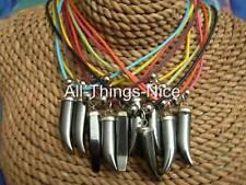 HEMATITE Gemstone 30mm HORN Tusk Black Pendant Necklace Jewellery WHOLESALE 10