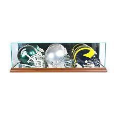 *NEW Triple Mini Helmet Glass Display Case NFL Walnut Molding FREE SHIPPING UV